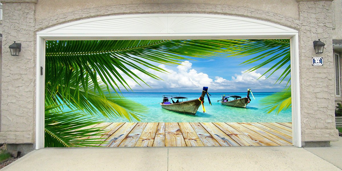 Re-Usable 3D Effect Garage Door Cover Billboard Sticker Decor Skin -Tropical - Sizes to fit your Garage.