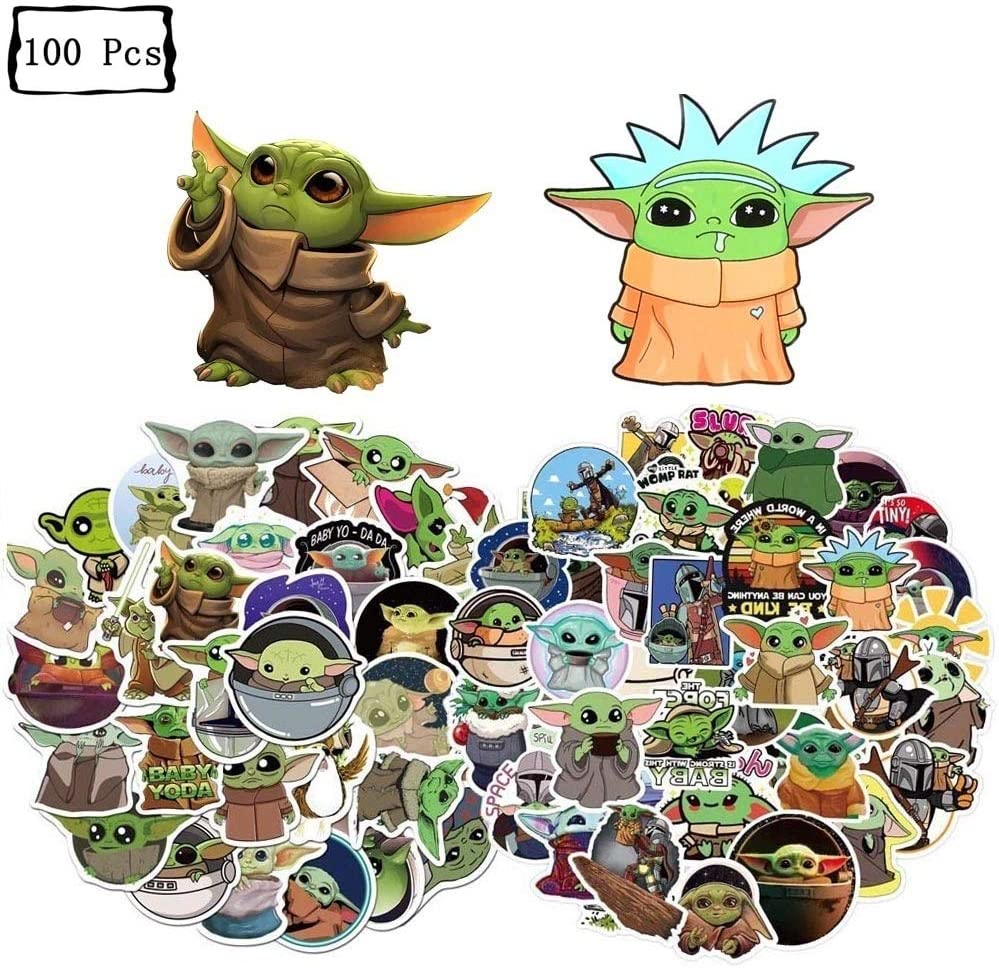 100 Pcs Baby Yoda Stickers, The Mandalorian Star Wars Waterproof Vinyl Sticker for Water Bottles Laptop Car Refrigerator Luggage Cup Computer Mobile Phone Locker Skateboard Luggage Baby Yoda Decals