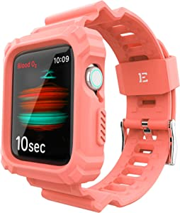 ExoGuard Designed for Apple Watch Bands 38mm 40mm Series with Case, Sports Style Shockproof Bumper Case with TPU Replacement Strap Bands Applicable to iWatch Series 6/5/4/3/2/1/SE - Peach