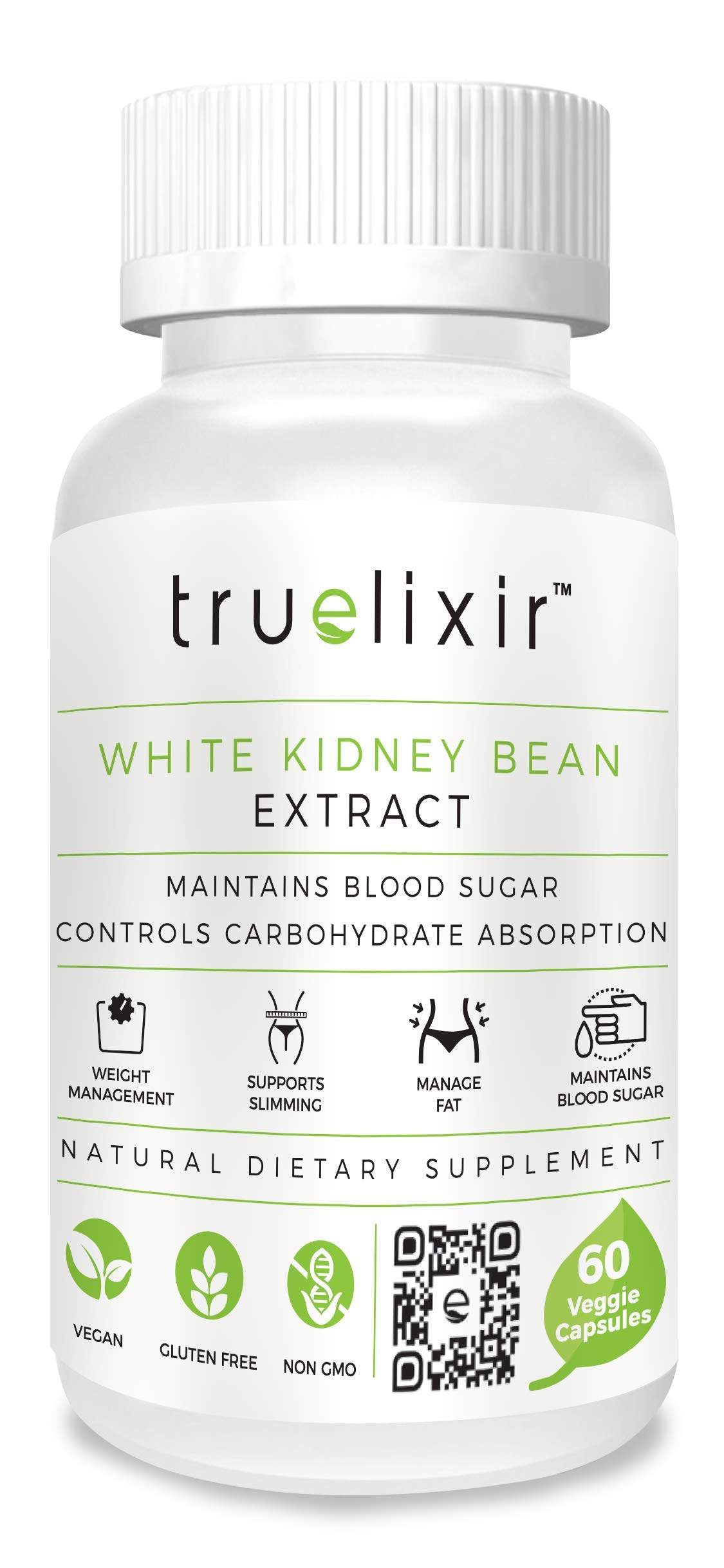 TRUELIXIR Vegan White Kidney Bean Extract 90%, All Natural, 60 Veggie CAPS (HPMC), Non-GMO, ALLERGEN Free, Gluten Free, NO Carriers, NO FILLERS, CARB Blocker, CARB Cutter