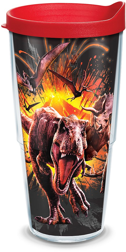 Tervis 1297854 Park-Jurassic World 2 Escape Insulated Tumbler with Wrap and Red Lid 24oz Clear