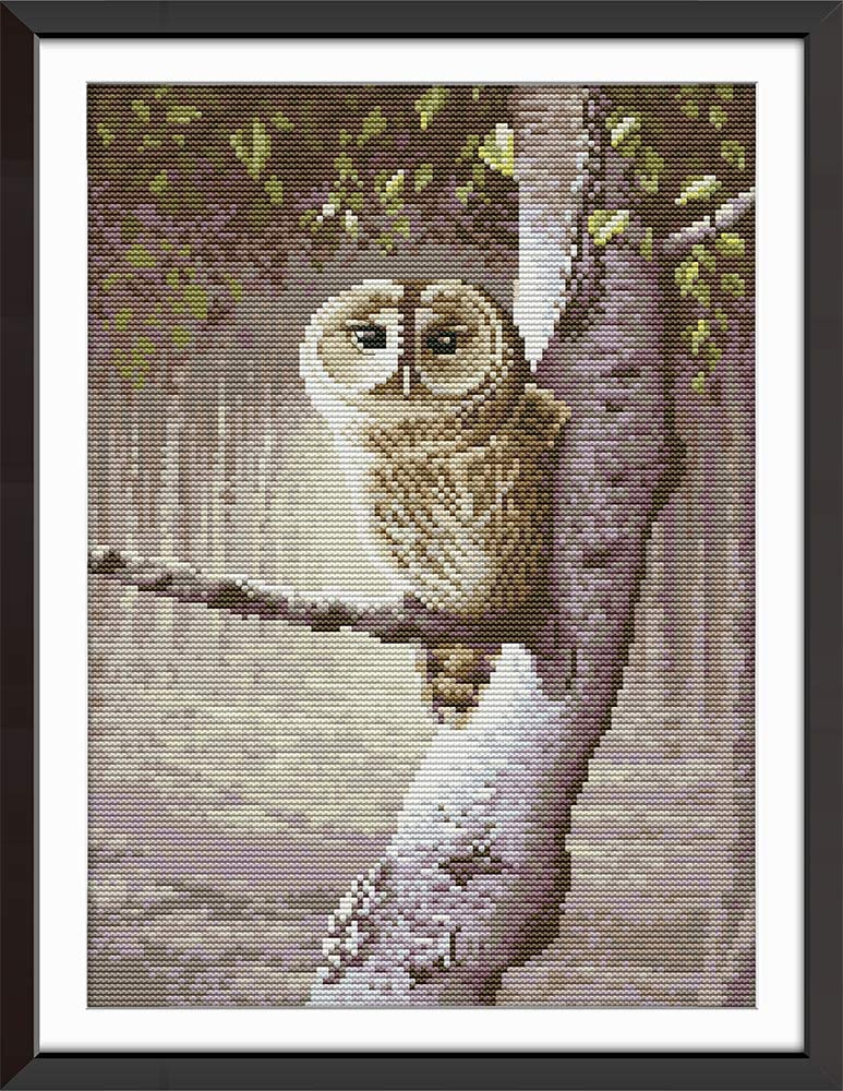 Owl, Stamped Awesocrafts The Owl in a Hat Animals Easy Patterns Cross Stitching Embroidery Kit Supplies Christmas Gifts Cross Stitch Kits Stamped or Counted