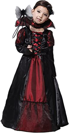 Child Girls Gothic Vampire Cutie Vampiress Outfit Fancy Dress 3 Sizes