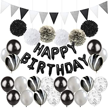 Balloons Party Supplies Kreatwow Black Silver Birthday Decorations Confetti Happy Banner Marble For 18th 21st