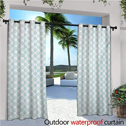 Homehot Pale Blue Exterior Outside Curtains Elliptical Shapes With Star Like Symbols Inside Wavy Bold