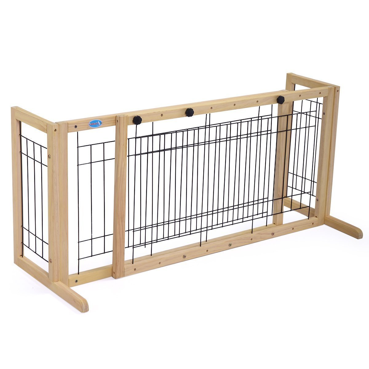JAXPETY Pet Fence Gate Free Standing Adjustable Dog Gate Indoor Pine Wood Construction,Light Wood