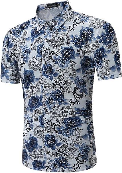 fd1b23c5bb029 Jeansian ete Chemise Homme Manches Courtes Men Summer Casual Slim Fit  Floral Printed Dress Shirt Tops 84R9  Amazon.fr  Vêtements et accessoires