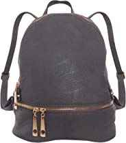 Humble Chic Vegan Leather Backpack Purse Small Fashion Travel School Bag Bookbag, Charcoal Grey, Dark Gray