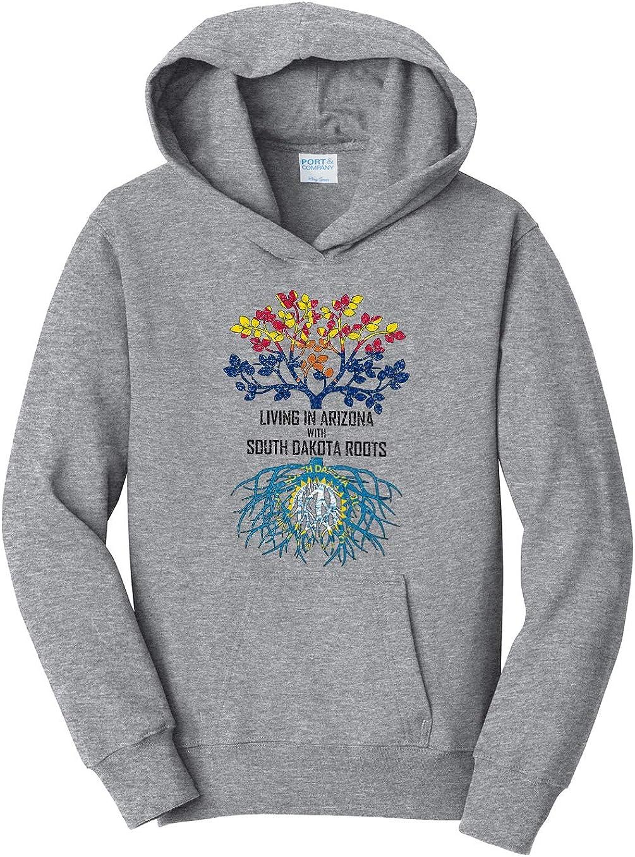 Tenacitee Girls Living in Arizona with South Dakota Roots Hooded Sweatshirt