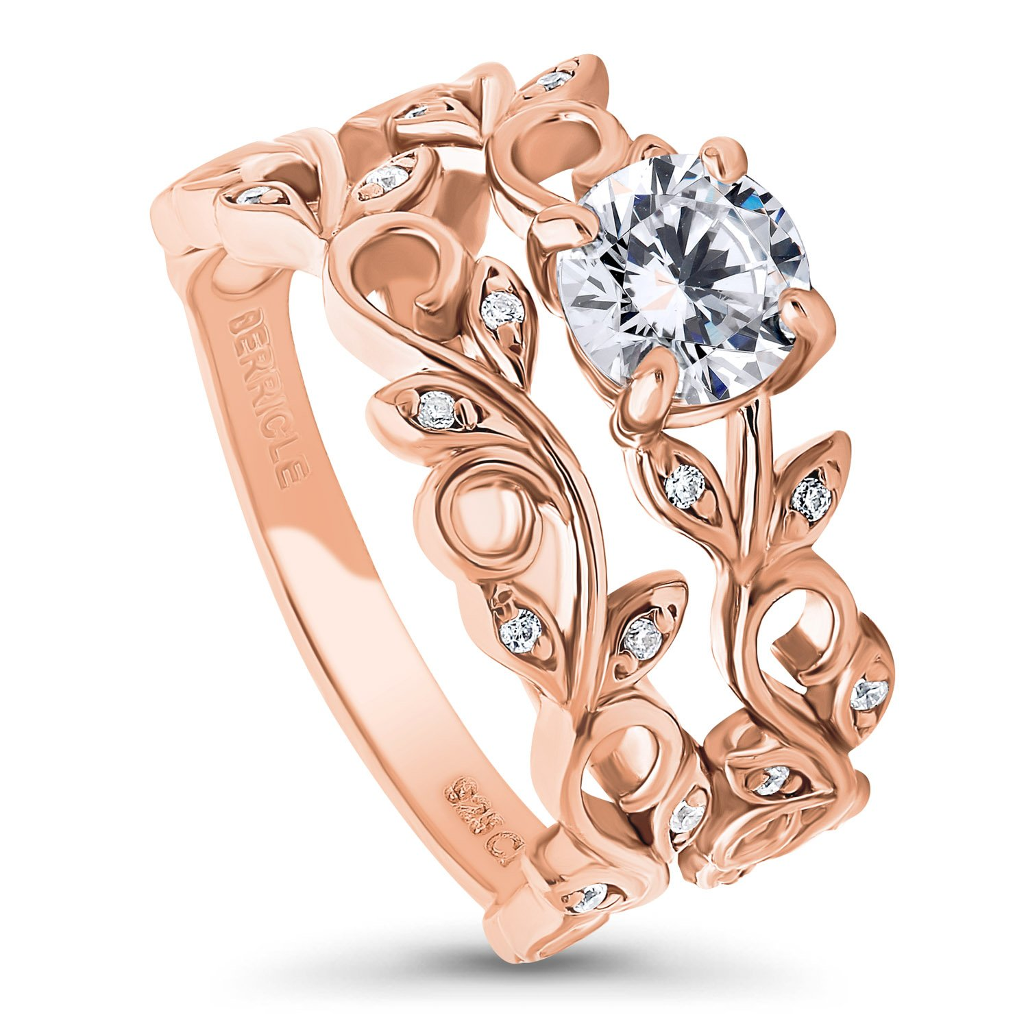 BERRICLE Rose Gold Plated Sterling Silver Cubic Zirconia CZ Filigree Leaf Solitaire Ring Set Size 8 by BERRICLE