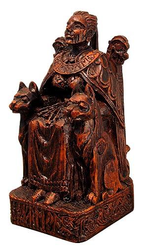 Dryad Design Seated Norse Goddess Freya Statue Wood Finish