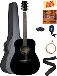 Yamaha FG800 Acoustic Guitar - Black Bundle with Gig Bag, Tuner, Strings, Strap