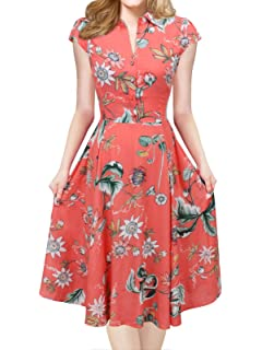 iLover Women V-Neck Cap Sleeve Floral Vintage Rockabilly Swing Dress with Pockets