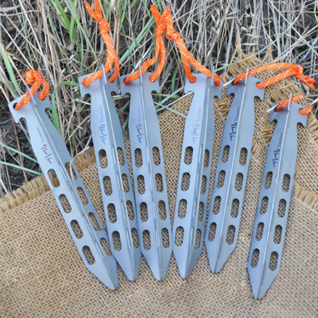 6pcs Titanium Tent Stakes Tent Pegs for Outdoor Camping Gardening Beach 16cm