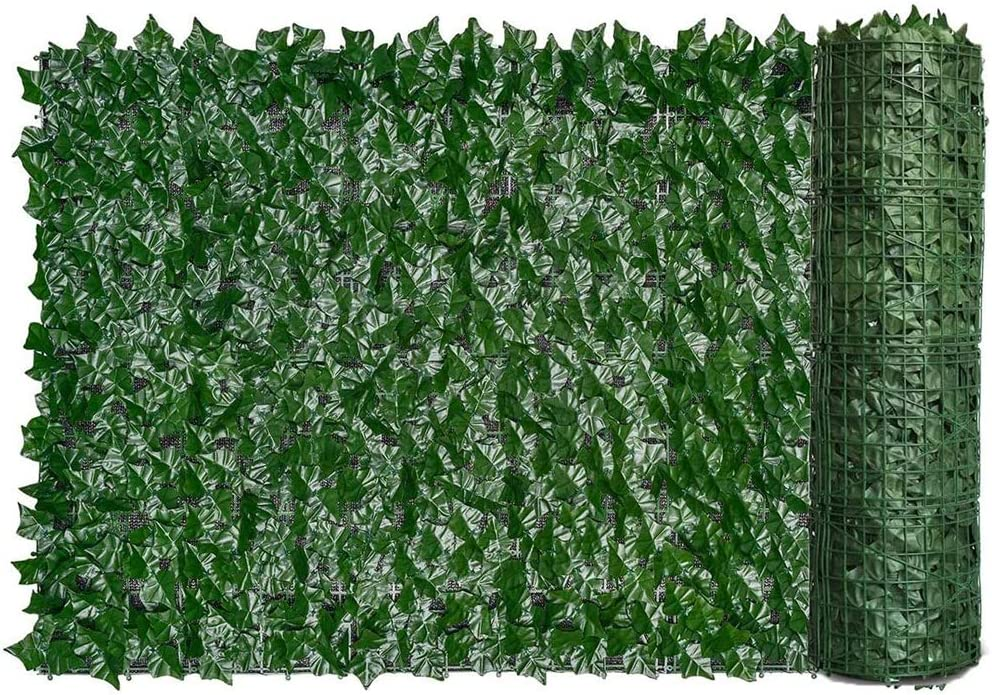 Artificial Ivy Hedge Screening Artificial Green Leaf Hedges Fence Screening Privacy Fencing Screening Rolls for Balcony Wall Outdoor Garden Decoration 0.5x1m