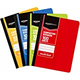 AmazonBasics College Ruled Composition Notebook, 100 Sheet, Assorted Solid Colors, 4-Pack