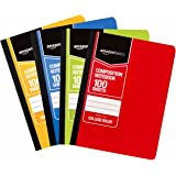 AmazonBasics College Ruled Composition Notebook, 100-Sheet, Assorted Solid Colors, 4-Pack