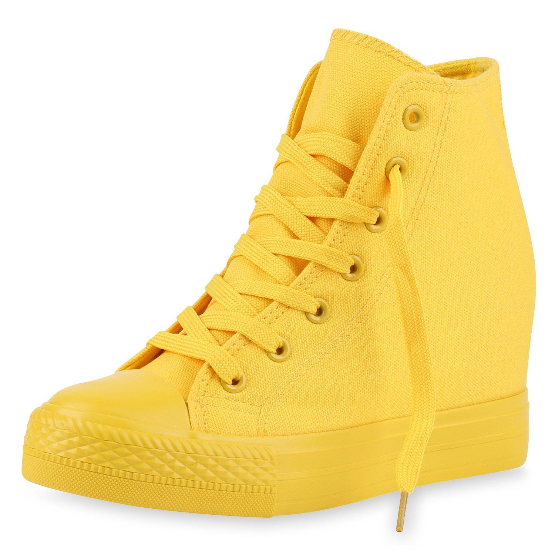 schuhe VITA mit Damen Sneaker Wedges mit VITA Keilabsatz Basic Gelb f3dc20