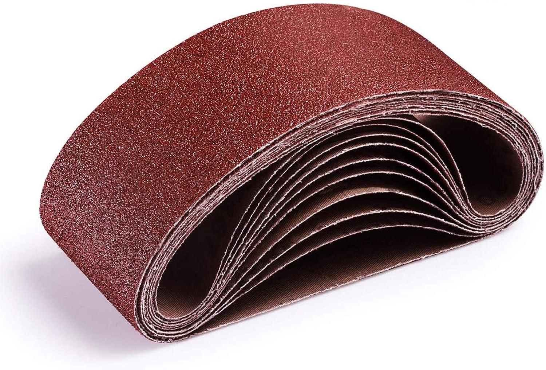 SDCVRE Papel de lija Bandas de lijado de 533x75 mm Bandas abrasivas de lija de grano 80-320 Bandas abrasivas para lijadoras Herramientas rotativas el/éctricas Accesorios Dremel Herramienta ab