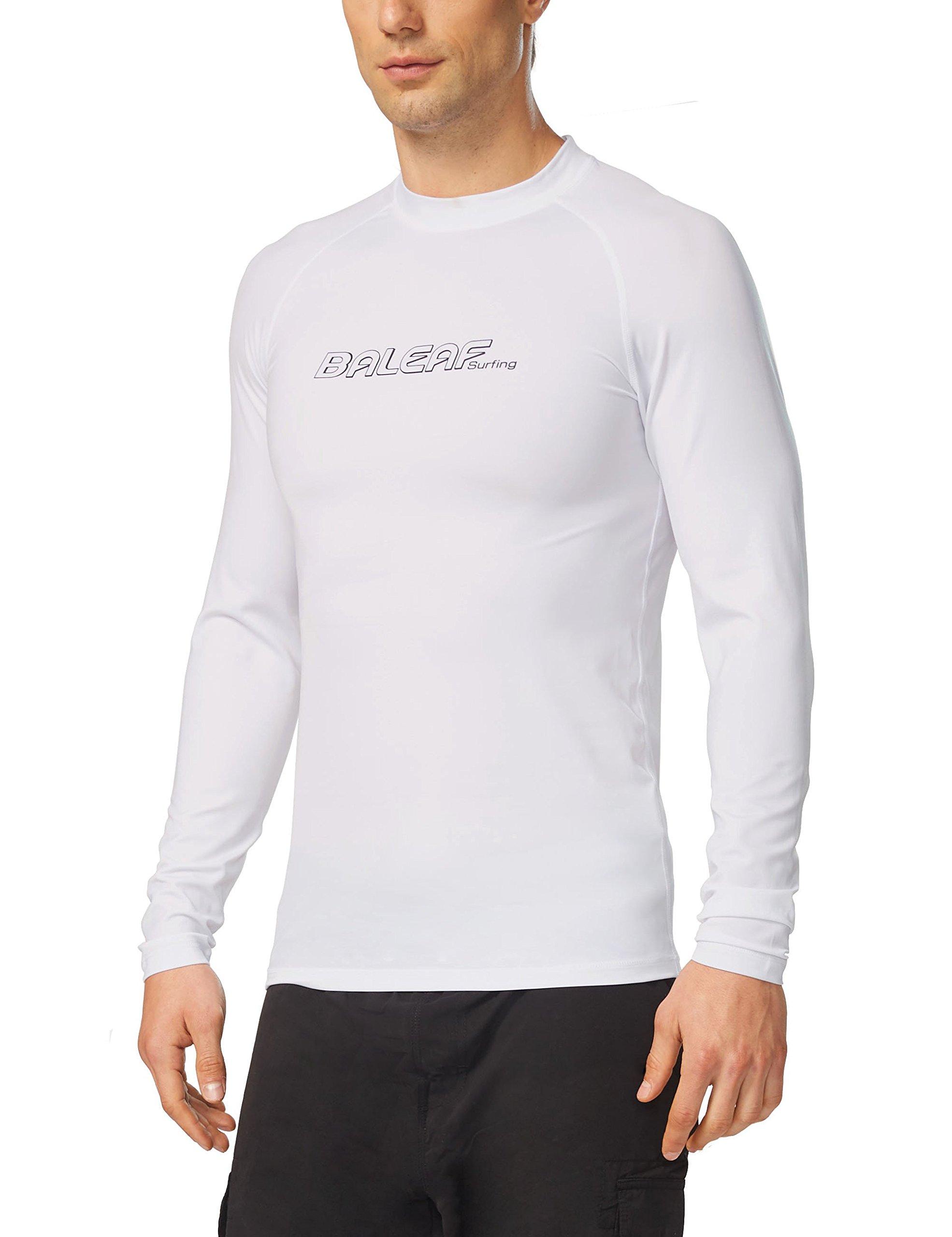 Baleaf Men's Long Sleeve Rashguard Sun Protective Swim Shirt UPF 50+ White Size L by Baleaf