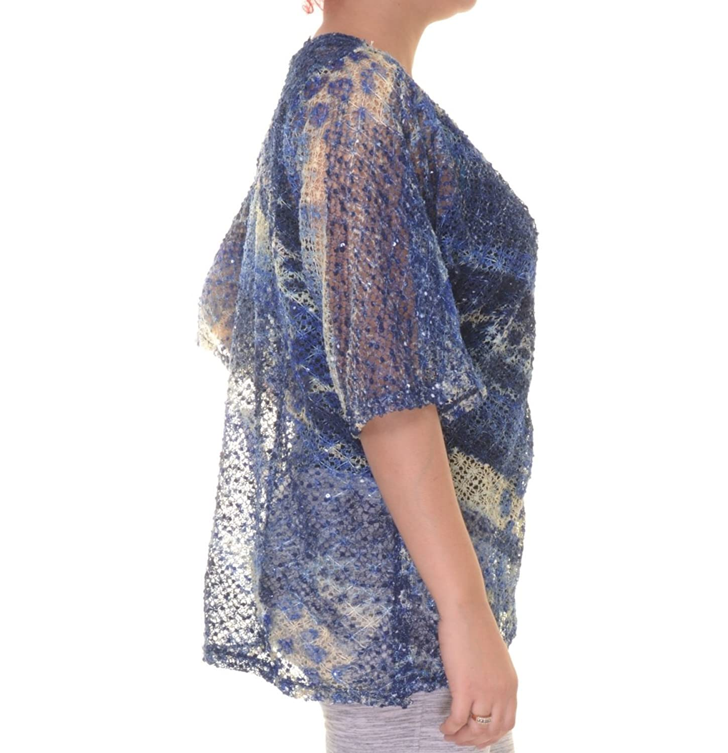 JM Collection Plus Size Sequined Animal-Print Sheer Cardigan ...