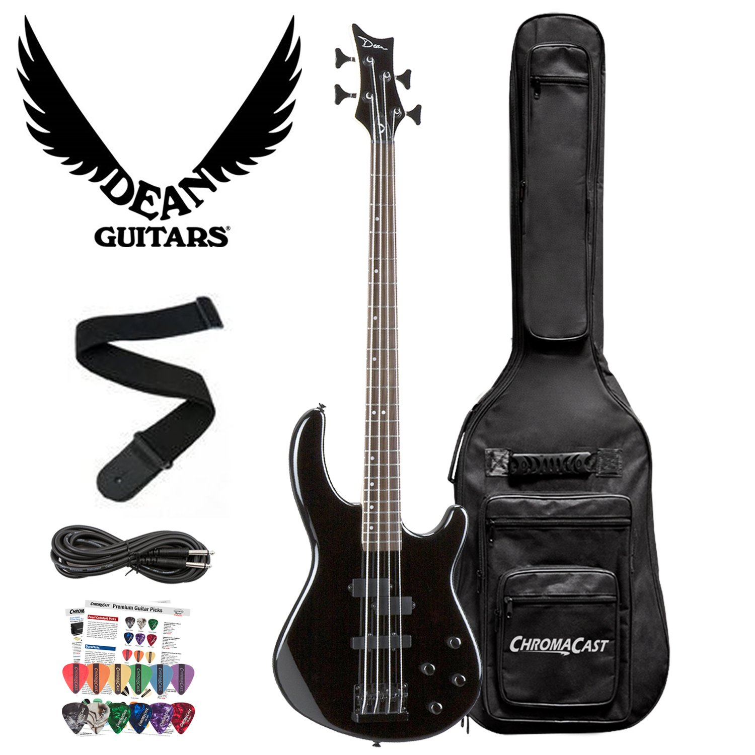 Dean Edge 10 Active PJ Bass, Classic Black Electric Bass with Cable, 12 Pick Pack and Gig Bag.