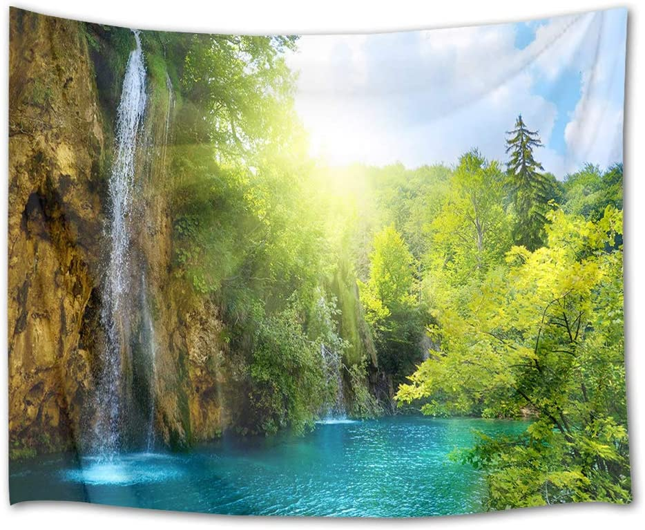 HVEST Waterfall Tapestry Green Trees by The River in Mountain Wall Hanging Landscape Tapestries for Bedroom Living Room Dorm Party Decor,92.5Wx70.9H inches