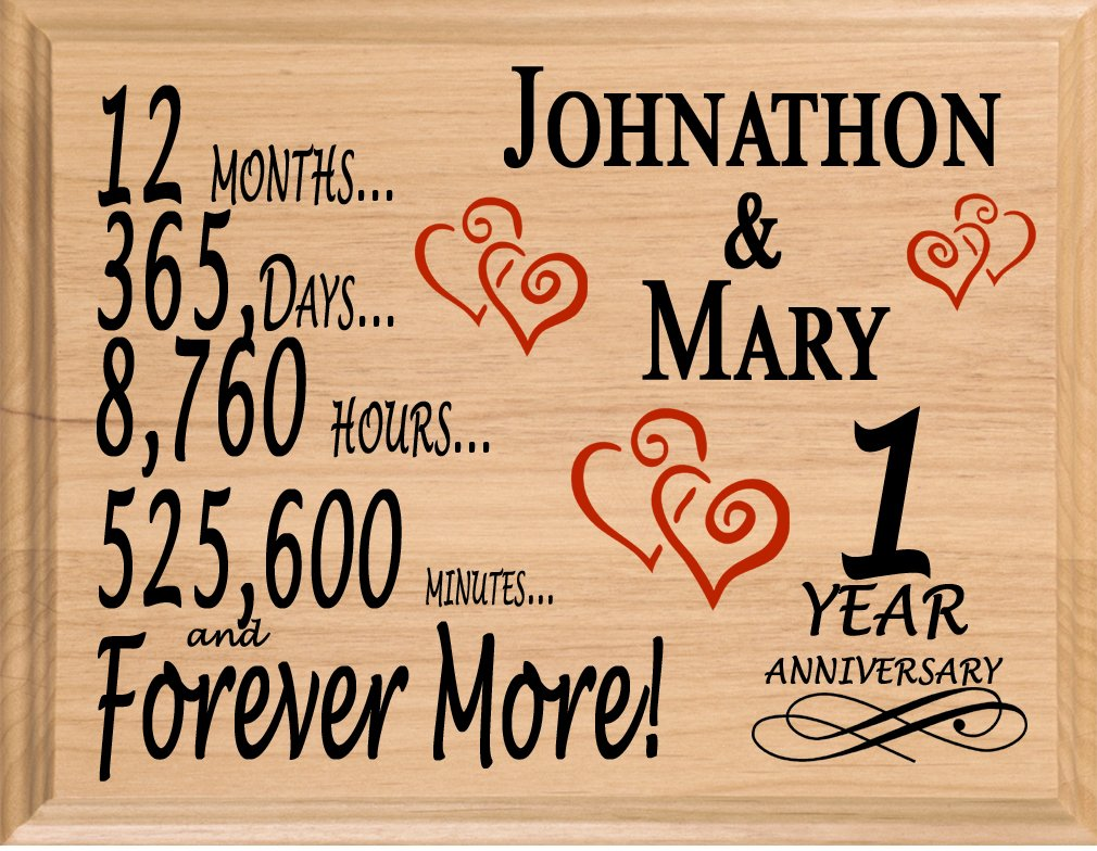 Broad Bay 1 Year Anniversary Sign Personalized Anniversary for Him Her or Couple by Broad Bay