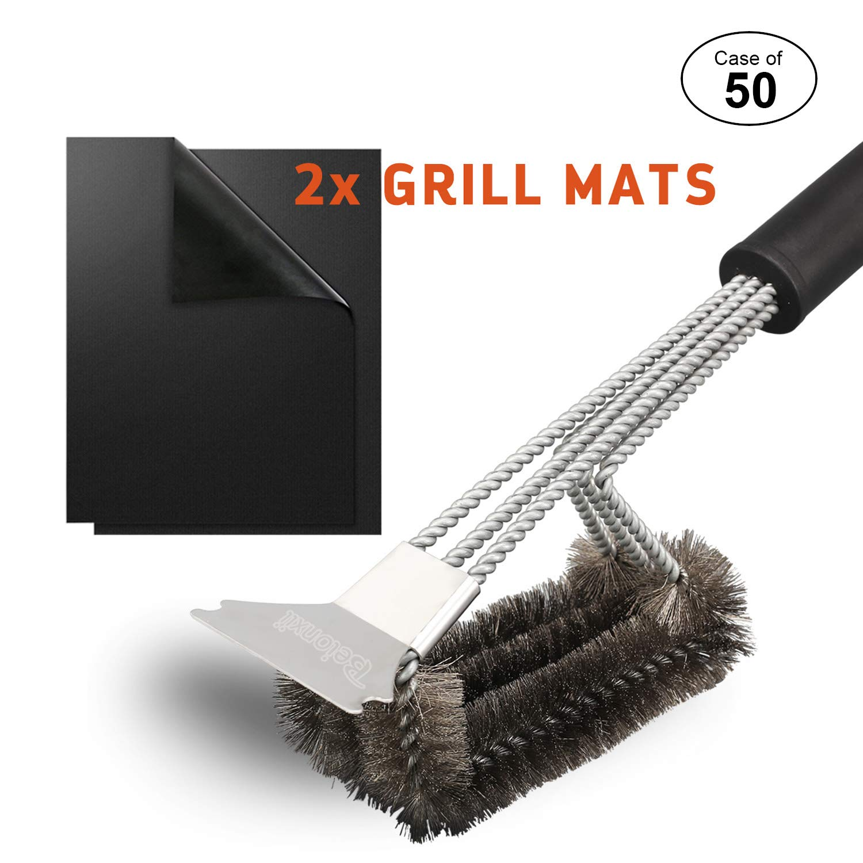 "Beionxii Case of 50, Grill Brush Scraper BBQ Brush Bonus 2 Non-Stick BBQ Grill Mats 18"" Stainless Steel Grill Cleaner with Triple Scraper Grill Cleaning Brush Grill Accessories Dishwasher Safe"