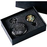 Yisuya, orologio da taschino di Doctor Who con catenina e ciondolo, da uomo, stile retrò, nero