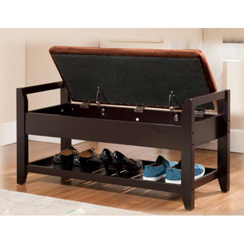 Amazoncom K&Ampb Furniture Solid Wood Storage Bench  Espresso Kitchen