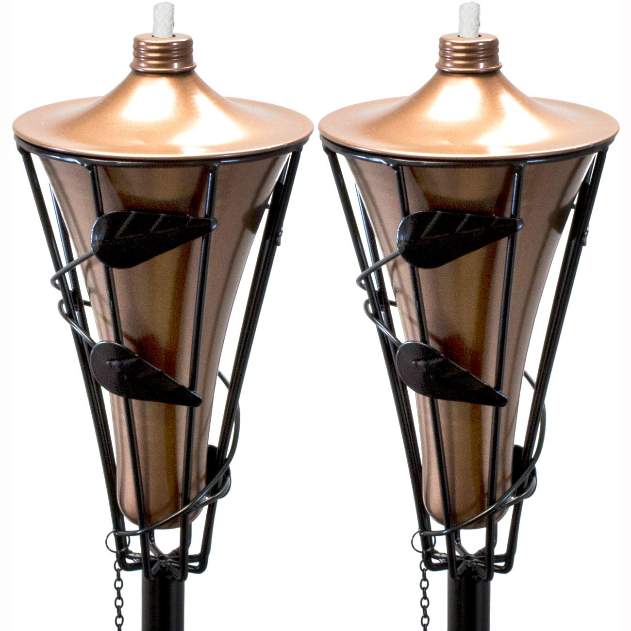 Matney Outdoor Metal Patio Torches – Use for Deck, Patio, Back Yard, Out Door parties, Wedding – Includes Fiberglass Wick and Snuffer Cap (60 Inch, 2 Pack)