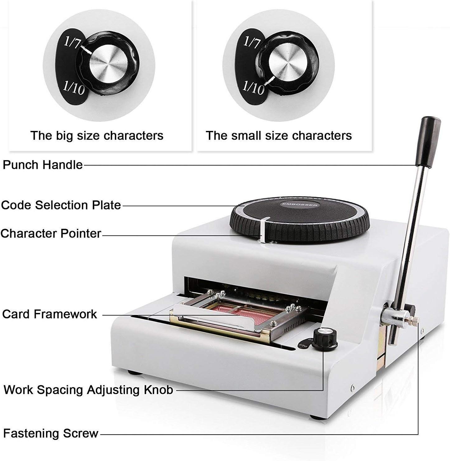 Ztopia - Máquina de repujado 72 caracteres tarjeta de repujado impresora de PVC tarjeta grabadora máquina de estampado ID VIP magnética repujado