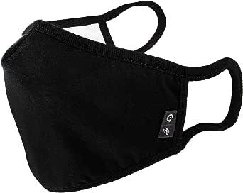 WITHMOONS Cotton Face Mouth Bandana Cool Mesh 3 Layers Dustproof Facial UV Protective Nose Bridge Strip Reusable Washable Black for Women Men EU0304Black