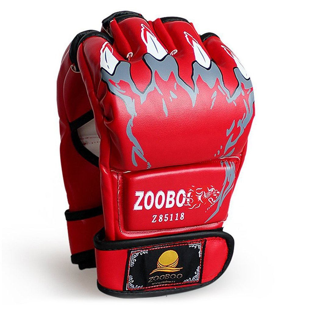 Punching Gloves, ZOOBOO Half-finger Boxing Fight Gloves MMA Mitts with Velcro Wrist Band for Sanda Sparring Bag Training (One Size Fits All) - Claws (Red)