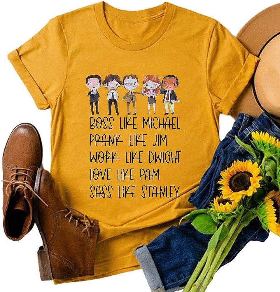 LORSU Women Boss Like Michael Prank Like Jim Shirt Funny The Office TV Show Carttoon Graphic Tees Tops Blouse