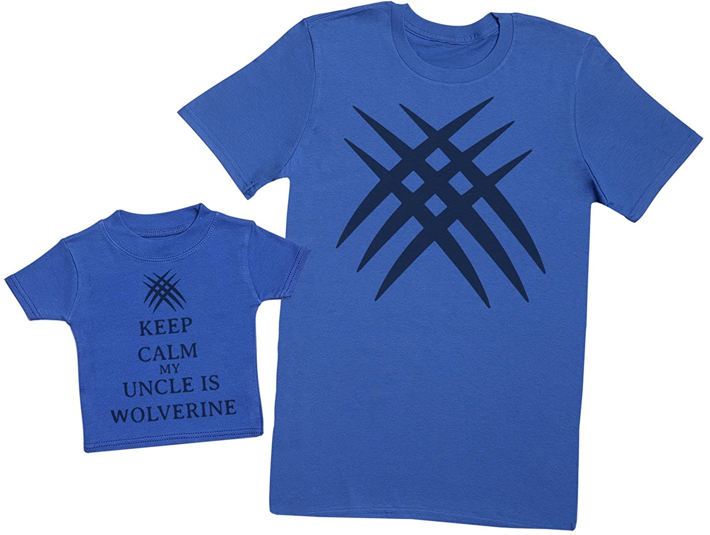 Mens T Shirt /& Baby T-Shirt Blue Matching Father Baby Gift Set Keep Calm My Uncle is Wolverine Large /& 3-6 Months