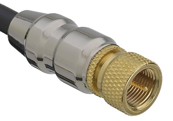 aricona N°441 Cable de antena coaxial premium SAT de (conector F a conector F), cable de satélite cable de antena con conectores dorados, Größe:5 Meter: ...