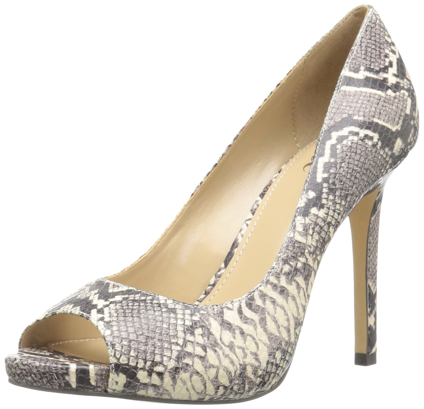 The Fix Women's Rosalee Peep Toe Platform Stiletto Dress Pump B06XH6XB67 9.5 B(M) US|Mushroom Python Print