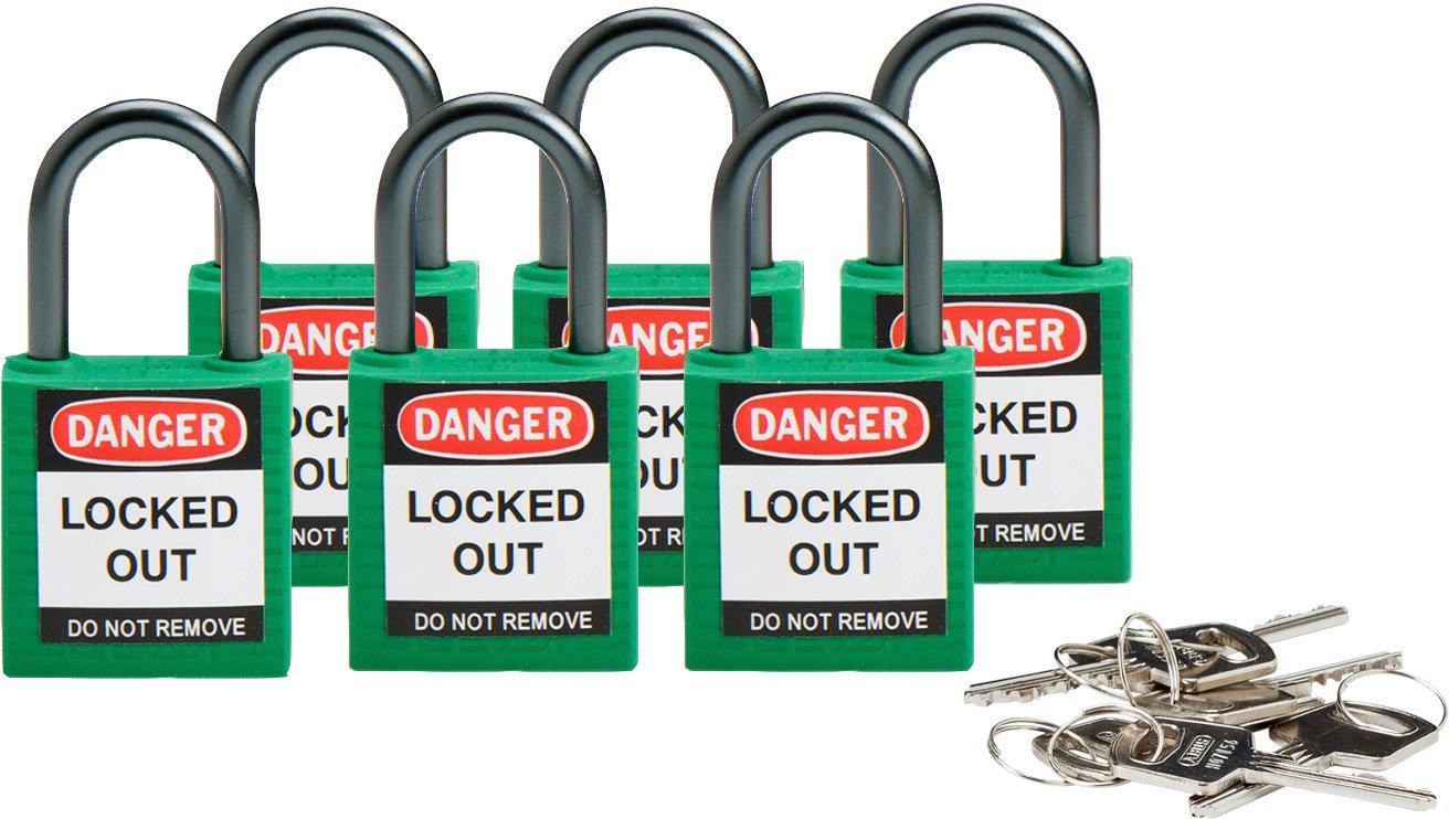 Brady 118956 Green, Brady Compact Safety Lock - Keyed Alike (6 Locks)