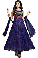 Devani Brothers Women'S Net Dress Material (Blue Rose 202, Blue , Free Size)
