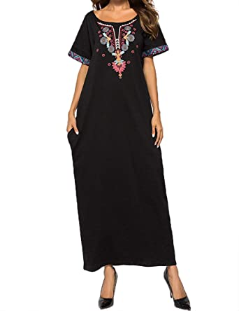 Casual Embroidered Dress Women Kaftan Abaya Muslim Dubai Robe Clothes