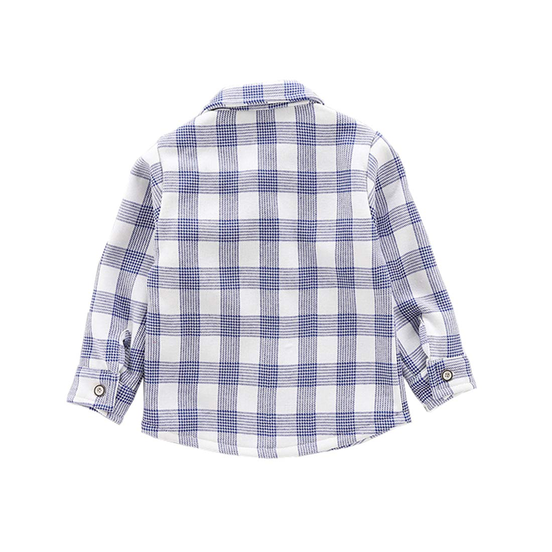 KUKEONON Toddler Boys Thickened Cotton Long Sleeve Cartoon Button Down Plaid Shirt