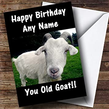 Goat Funny Old Age Joke Personalized Birthday Card: Amazon.ca: Office Products