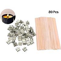"""80 morceaux de mèches en bois coupées à la main naturelles pour la fabrication de bougies et de bougies DIY, 5 """""""