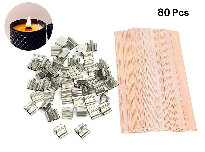 MARCHONE 80 piezas de mechas naturales de madera cortadas a mano para hacer velas y velas de bricolaje, 5