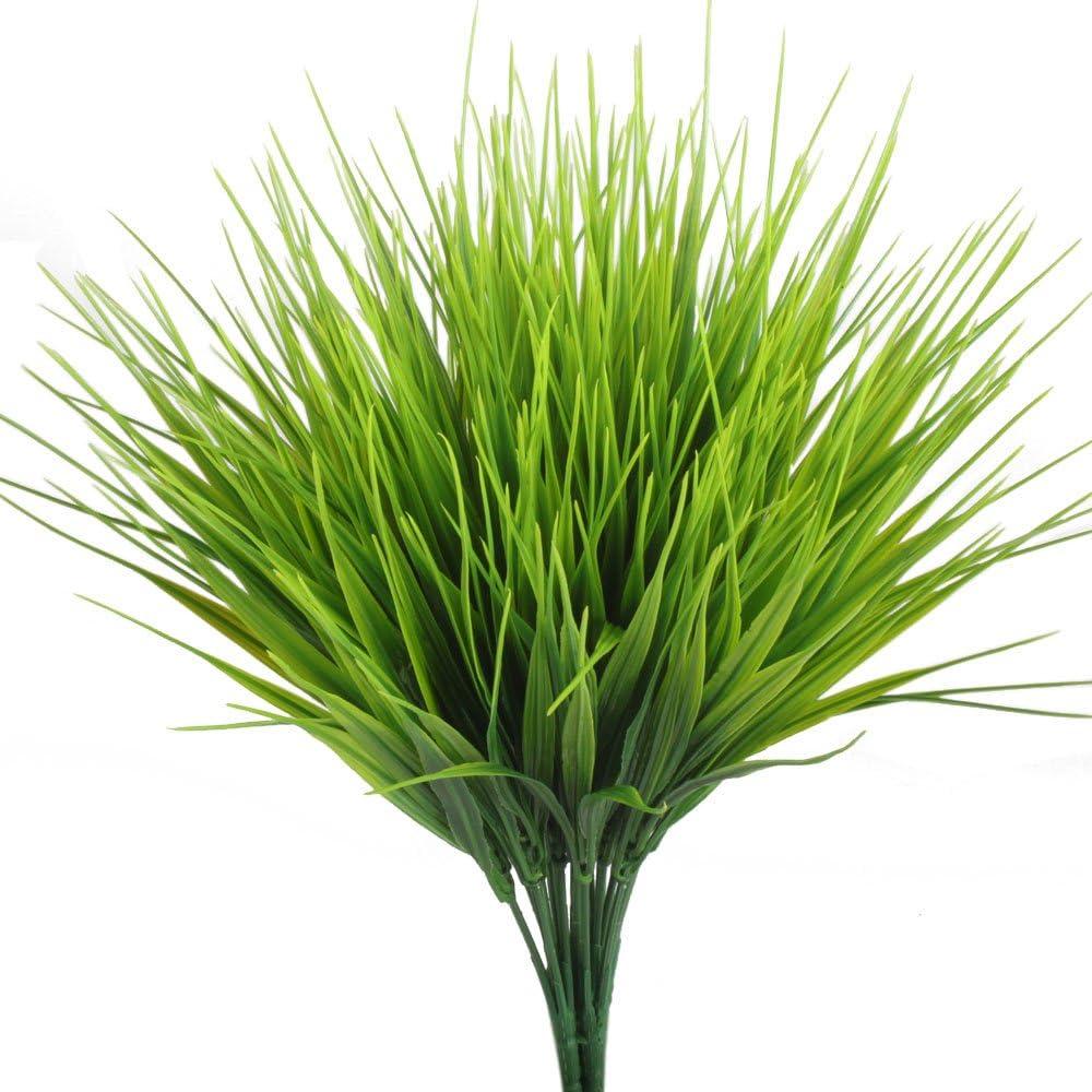 HOGADO Artificial Outdoor Plants, 4pcs Fake Plastic Greenery Shrubs Wheat Grass Bushes Flowers Filler Indoor Outside Home House Garden Office Decor
