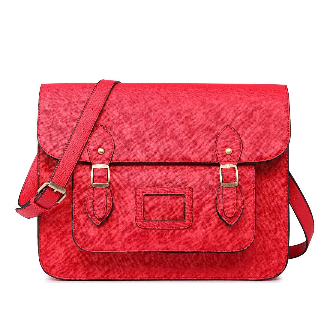 Miss Lulu Brand Vintage Designer Faux Leather Work Briefcase Satchel Bag School Bag (Red)