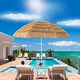 Homestock Thatched Tiki Beach Umbrella Hawaiian Style Raffia Umbrella Tropical Patio Straw Umbrella 8 Ribs, Natural Color
