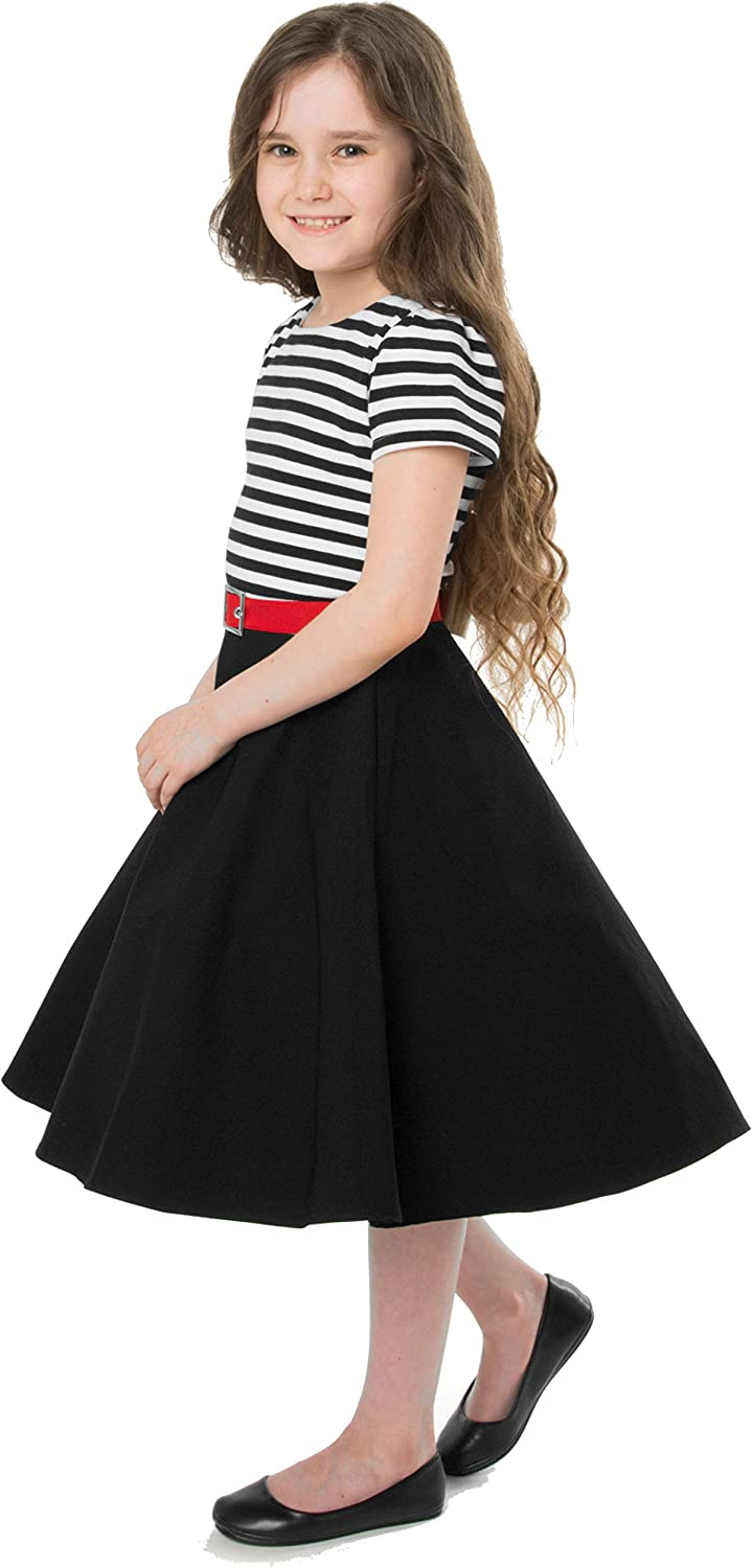 Kids 1950s Clothing & Costumes: Girls, Boys, Toddlers BlackButterfly Kids Maria Vintage Striped Pin Up Dress £23.99 AT vintagedancer.com